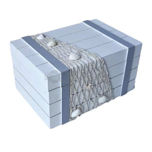Кутия дървена бяла с морски мотиви