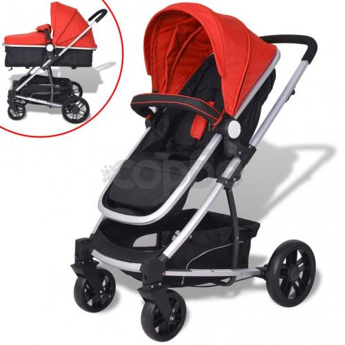 Детска/бебешка количка 2-в-1, алуминий, червено и черно
