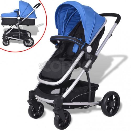 Детска / бебешка количка 2-в-1, алуминий, синьо и черно