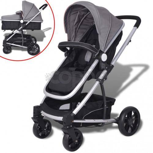 Детска/бебешка количка 2-в-1, алуминий, сиво и черно