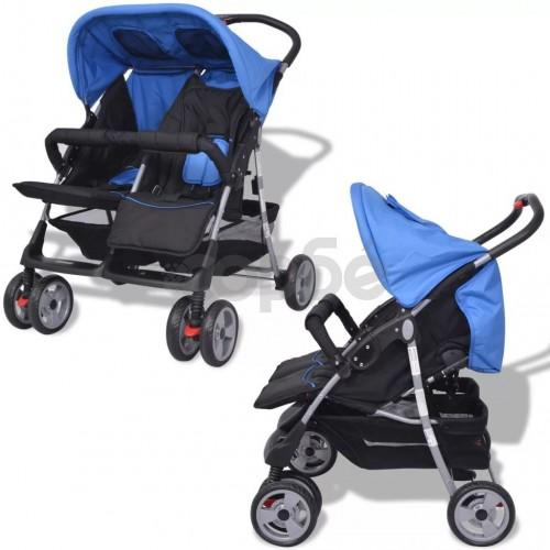 Бебешка количка за близнаци, стомана, синьо и черно