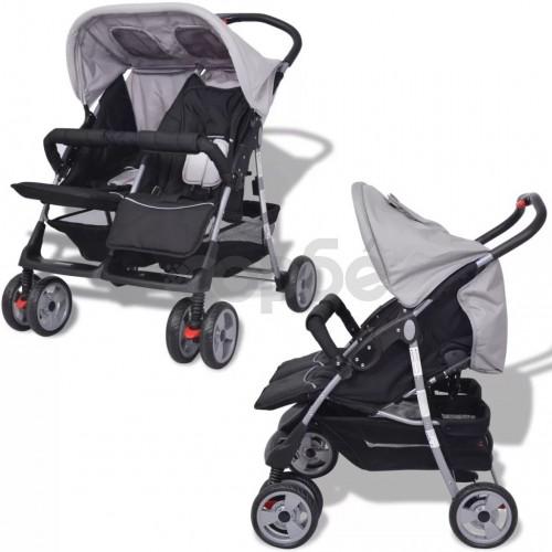 Бебешка количка за близнаци, стомана, сиво и черно