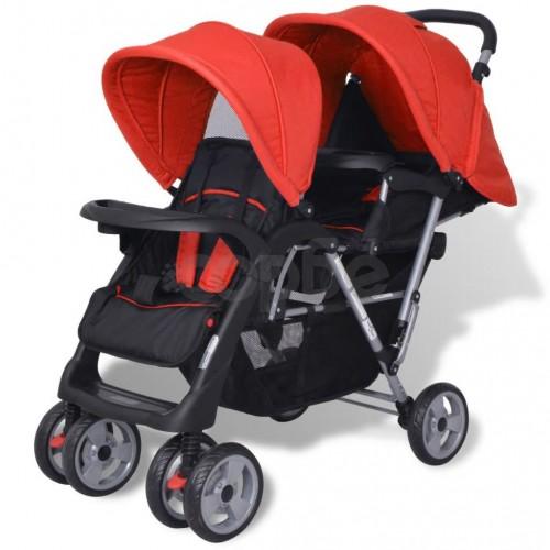 Комбинирана количка тандем, стомана, червено и черно