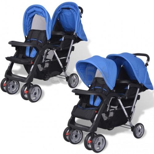 Комбинирана количка тандем, стомана, синьо и черно