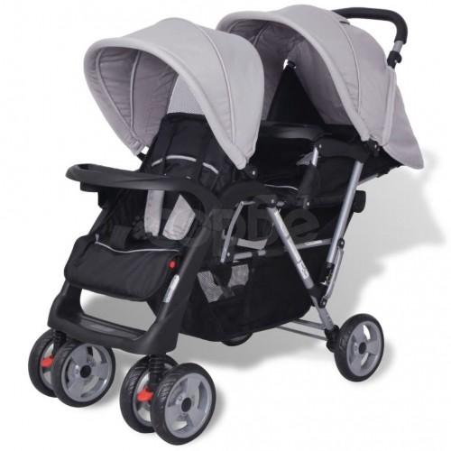Бебешка количка - двойна, стоманено сиво и черно