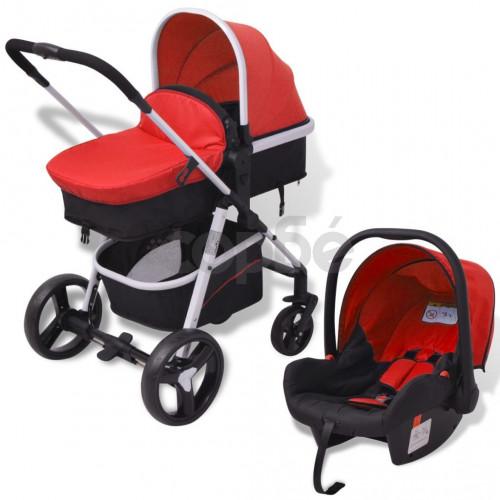 Бебешка количка 3-в-1, алуминиева, червено и черно