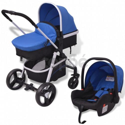 Бебешка количка 3-в-1, алуминиева, синьо и черно