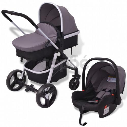 Бебешка количка 3-в-1, алуминиева, сиво и черно