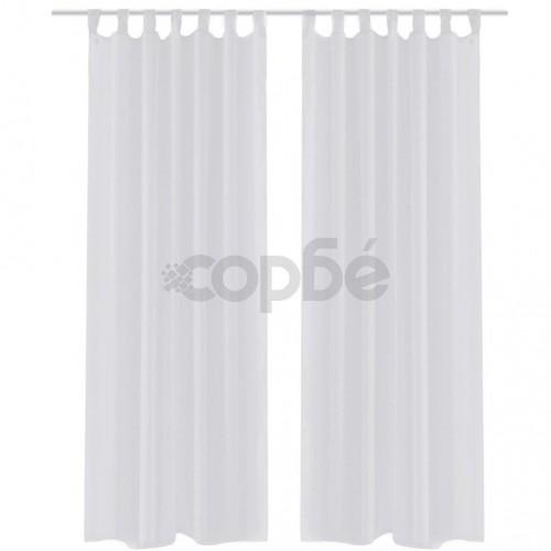 Бели прозрачни завеси 140 х 225 см – 2 броя