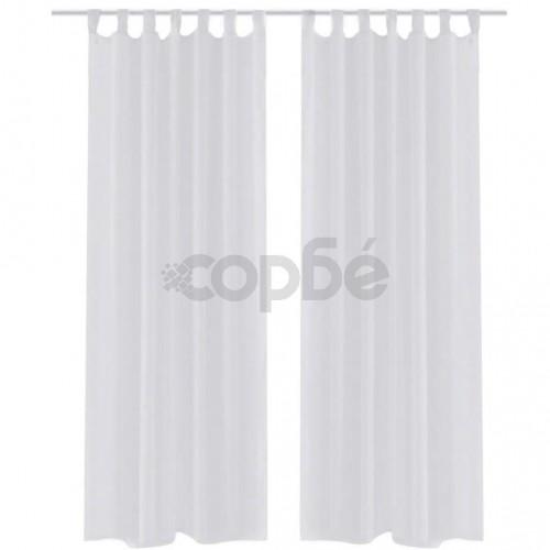 Бели прозрачни завеси 140 х 245 см – 2 броя