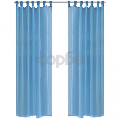 Тюркоазени прозрачни завеси 140 х 175 см – 2 броя