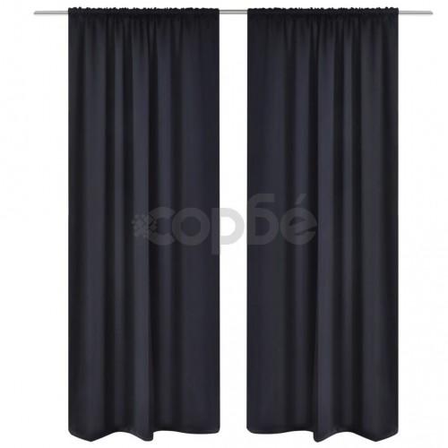 2 бр. Черни затъмняващи завеси с горен подгъв за корниз  135 x 245 cм