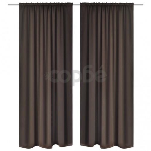 Затъмняващи завеси с горен подгъв за корниз, 2 бр, кафяви, 135x245 cм