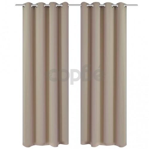 2 бр. Бежови затъмняващи завеси с метални пръстени 135 x 245 см