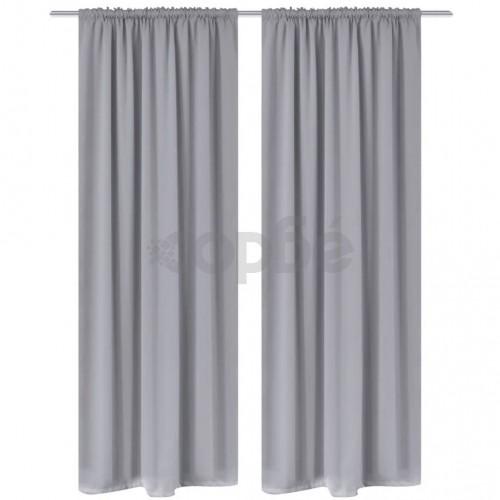 Затъмняващи завеси с горен подгъв за корниз, 2 бр, сиви, 135x245 cм