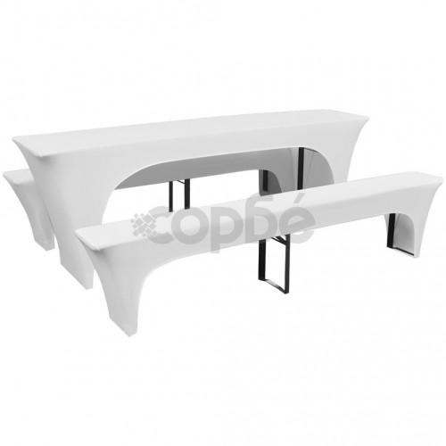 3 покривки-калъфи за маса и две пейки, еластични, бели, 220x50x80см