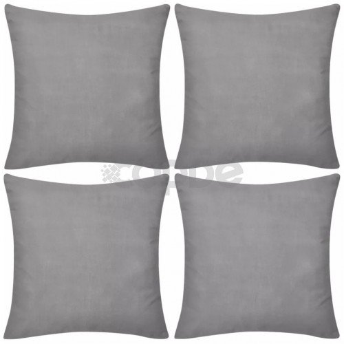 Калъфки за възглавници, 4 бр, памук, 50 x 50 см, сиви
