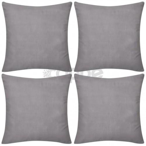 Калъфки за възглавници, 4 бр, памук, 80 x 80 см, сиви