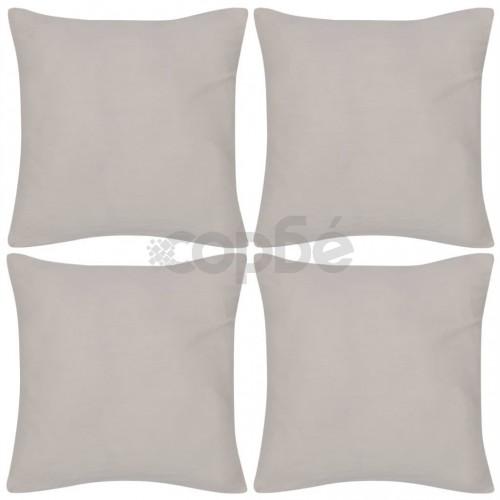 Калъфки за възглавници, 4 бр, памук, 50 x 50 см, бежови