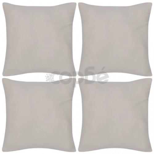 Калъфки за възглавници, 4 бр, памук, 80 x 80 см, бежови
