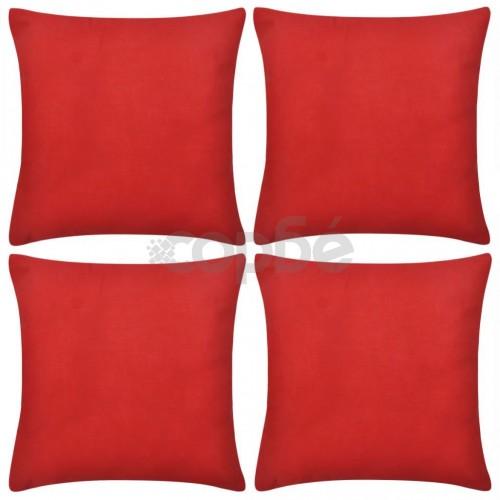 Калъфки за възглавници, 4 бр, памук, 40 x 40 см, червени