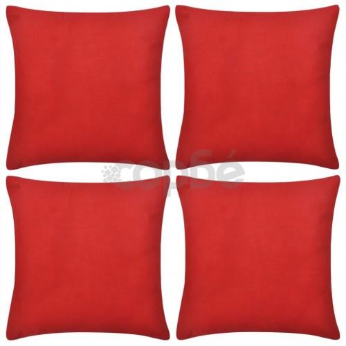 Калъфки за възглавници, 4 бр, памук, 80 x 80 см, червени