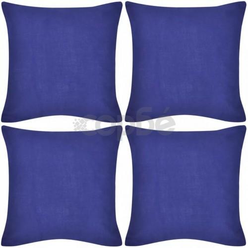 Калъфки за възглавници, 4 бр, памук, 40 x 40 см, сини