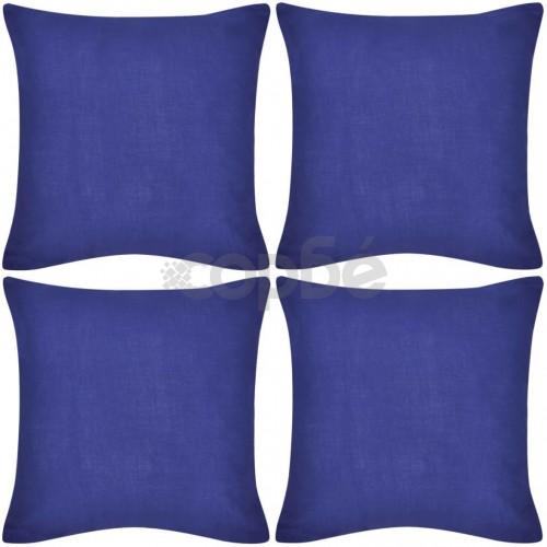 Калъфки за възглавници, 4 бр, памук, 80 x 80 см, сини