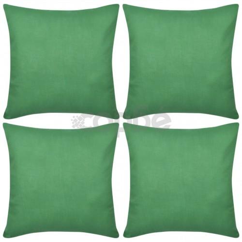 Калъфки за възглавници 4 бр, памук, 40 x 40 см, зелени
