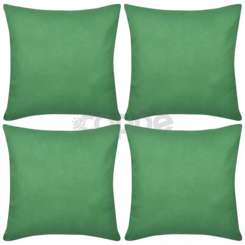 Калъфки за възглавници, 4 бр, памук, 50 x 50 cм, зелено