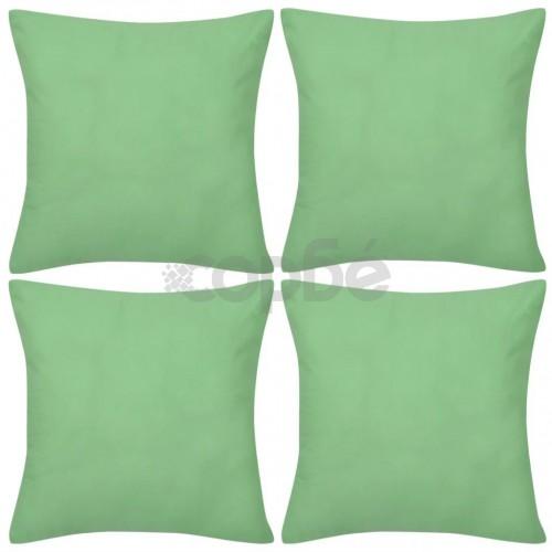 Калъфки за възглавници 4 бр, памук, 80 x 80 см, ябълково зелено