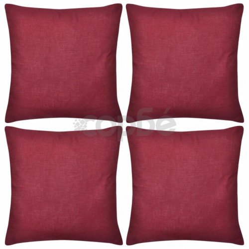 Калъфки за възглавници, 4 бр, памук, 40 x 40 см, бордо