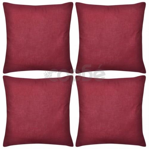 Калъфки за възглавници, 4 бр, памук, 50 x 50 см, бордо