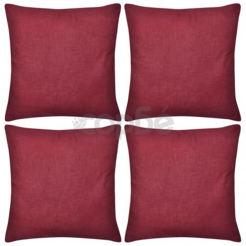 Калъфки за възглавници, 4 бр, памук, 80 x 80 см, бордо