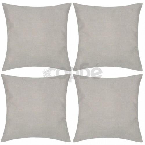 Калъфки за възглавници, 4 бр, бежови с ленен вид, 40x40 см