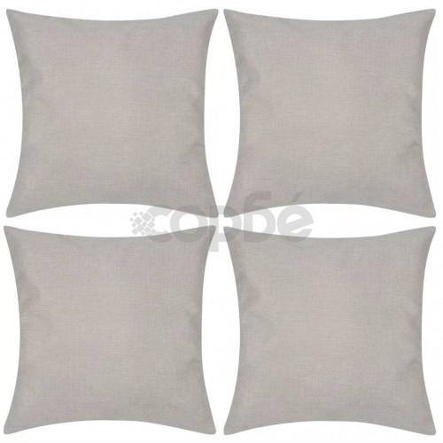Бежови калъфки за възглавници, 4 бр, ленен вид, 80x80 см