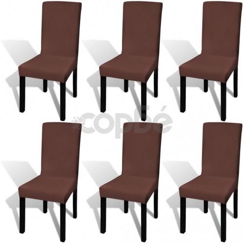 Покривни калъфи за столове, еластични, 6 бр, кафяви
