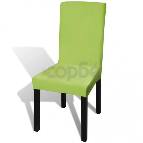 Покривни калъфи за столове, еластични, 6 бр, зелени