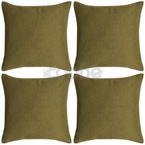 Калъфки за възглавници, 4 бр, ленен вид, зелени, 80x80 см