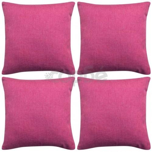 Калъфки за възглавници, 4 бр, ленен вид, розови, 50x50 см