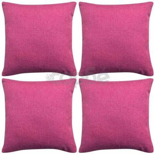 Калъфки за възглавници, 4 бр, ленен вид, розови, 80x80 см