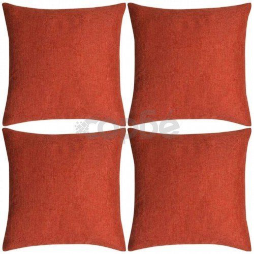 Калъфки за възглавници, 4бр, ленен вид, теракота, 50x50см