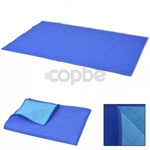 Одеяло за пикник, синьо и светлосиньо, 100x150 см