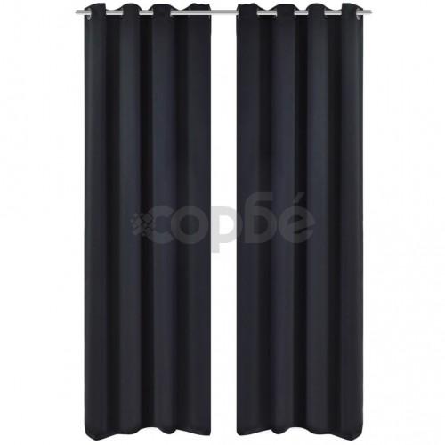 Затъмняващи завеси с метални халки, 2 бр, 135x175 см, черни
