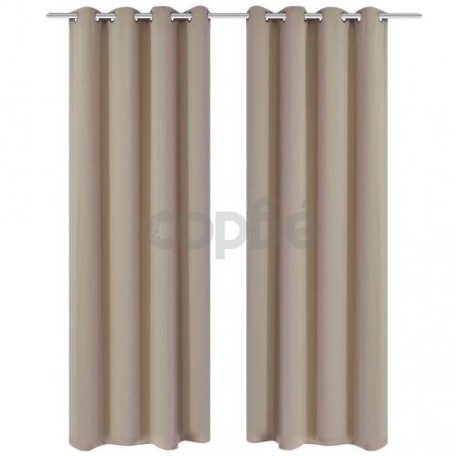 Затъмняващи завеси с метални халки, 2 бр, 135x175 см, кремави