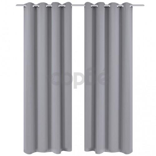 Затъмняващи завеси с метални халки, 2 бр, 135x175 см, сиви