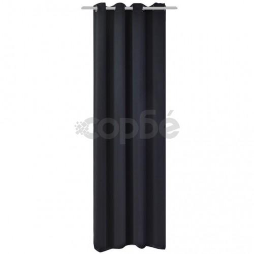 Затъмняваща завеса с метални халки, 270x245 см, черна