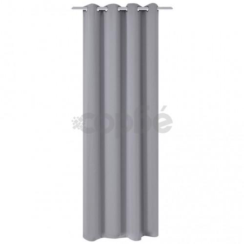 Затъмняваща завеса с метални халки, 270x245 см, сива