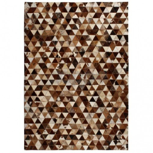 Пачуърк килим от кожа, 160x230 см, триъгълници, кафяво/бяло
