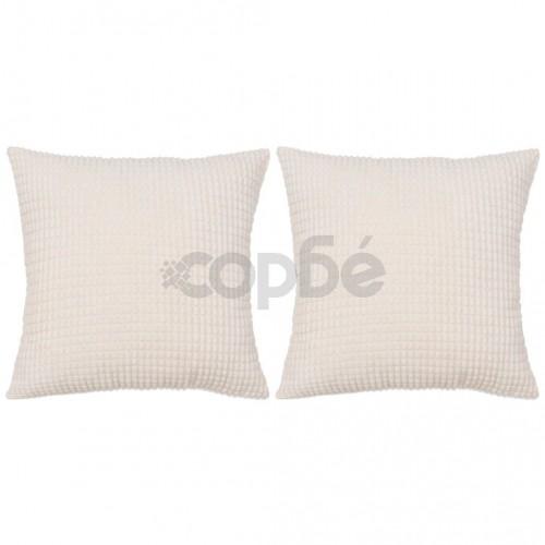 Комплект възглавници, 2 бр, велур, 45x45 см, белезникави
